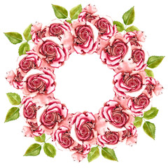 A Wreath Of Red Roses Painted In Watercolor