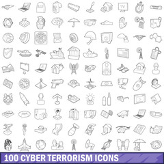 100 cyber terrorism icons set, outline style