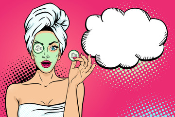 Wow female face. Sexy young  woman housewife with open mouth in bath towel with cosmetic mask holding slice of cucumber and empty speech bubble. Vector bright background in pop art retro comic style.