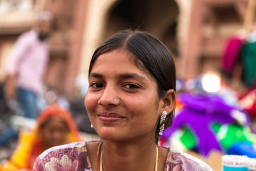 Indian young girl in the street market, Udaipur, India