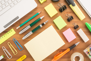School office supplies on a table