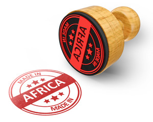 made in Africa red grunge round stamp isolated