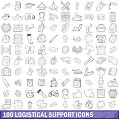 100 logistical support icons set, outline style