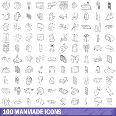 100 manmade icons set, outline style