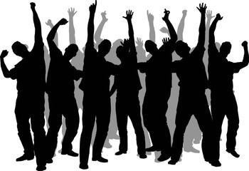 Silhouette of a crowd of men dancing and cheering.