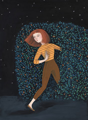 Illustration of a girl going through a bush