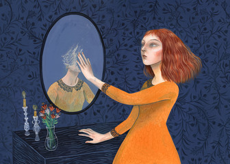 Woman erasing her reflection from the mirror