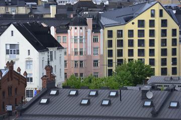 view of Helsinki, roofs, attics, windows