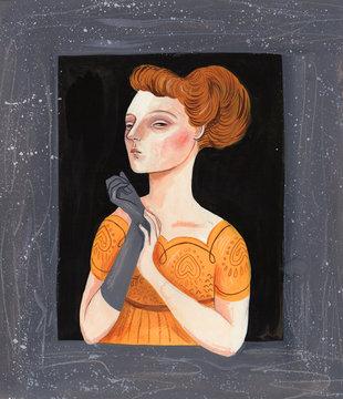 Elegant woman wearing gloves