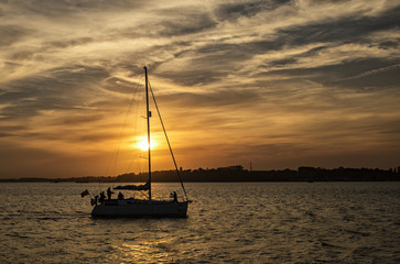 Yacht at Sunset, Harwich, England