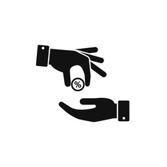Hand gives percent profit to other person icon. Vector income symbol