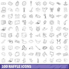 100 raffle icons set, outline style