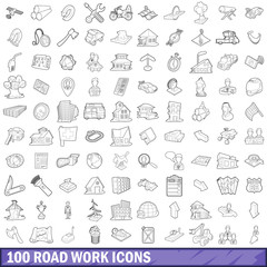 100 road work icons set, outline style