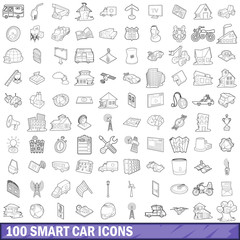 100 smart car icons set, outline style