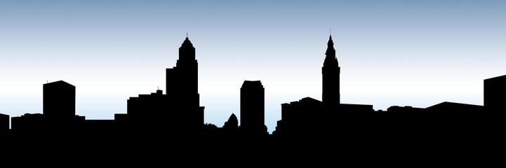 Skyline silhouette oft he city of Cleveland, Ohio, USA.