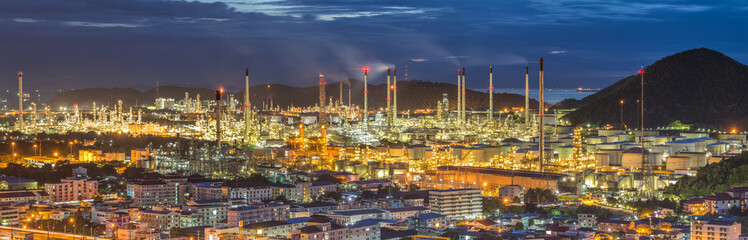 Oil refinery at twilight - factory - petrochemical plant
