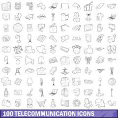 100 telecommunication icons set, outline style