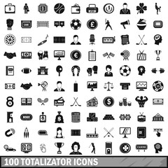 100 totalizator icons set, simple style