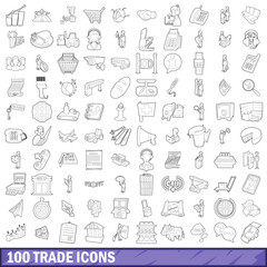 100 trade icons set, outline style