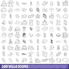 100 villa icons set, outline style