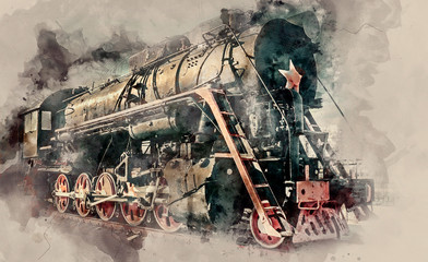 The old Old steam locomotive on sunset background. Vintage style train. Watercolor background