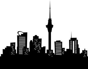 Cartoon skyline silhouette of the city of Auckland, New Zealand.