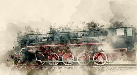 Old steam locomotives of the 20th century. Watercolor background