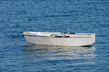 wooden fishing boat moored