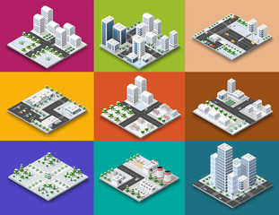 City module creator isometric concept of urban infrastructure business. Vector building illustration of skyscraper and collection of urban elements architecture, home, construction, block and park