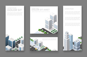 Set business card template. For real estate agencies, construction companies and creative background, tourist and urban companies
