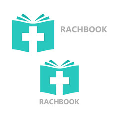 logo combination of a book and christian cross
