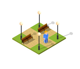 Isometric landscape design. Vector illustration isolated for city maps, games