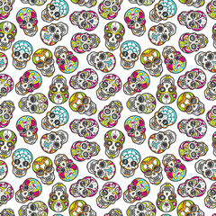Colorful mexican sugar skull seamless pattern, vector illustration