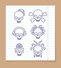 Cute skulls on notebook page background. Vector linear skull icons design