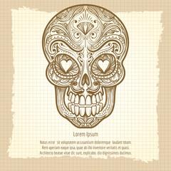Mexican decorative skull on vintage background, vector illustration