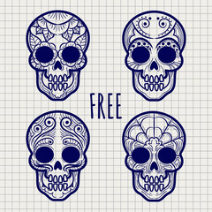 Mexican sugar or calavera skulls on notebook page, vector illustration
