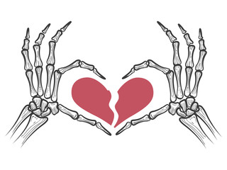 Broken heart in skeleton hands isolated on white background. Vector illustration