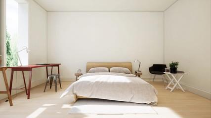 Bedroom design modern have lamp,3D rendering