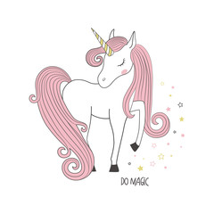 Magical unicorn. Kids illustration for clothing