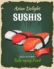 Retro Japanese Sushis Poster
