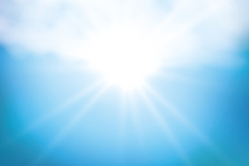 Sunny background, blue sky with white clouds and sun, vector illustration,