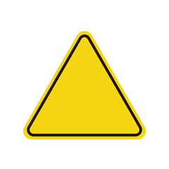 Triangle warning sign. Warning roadsign icon. Yellow background