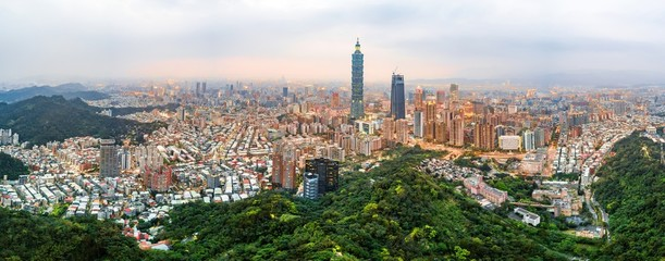 Taipei skyline aerial view at dusk