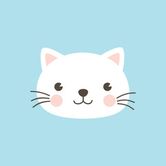 Cat face character. A cute white kitten on sky blue background Vector illustration for greeting card, invitation.