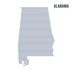 Vector abstract hatched map of State of Alabama with lines isolated on a white background.