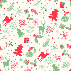 Seamless pattern with tree, leaves and  deer on a white background. Merry Christmas background. Winter vector pattern