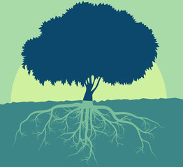 Tree with roots vector abstract background concept with vintage