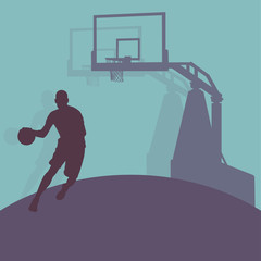 Basketball man player relaxing vector abstract