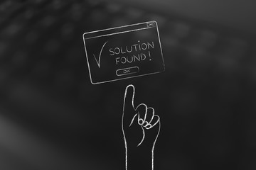 hand pointing at Solution Found pop-up message