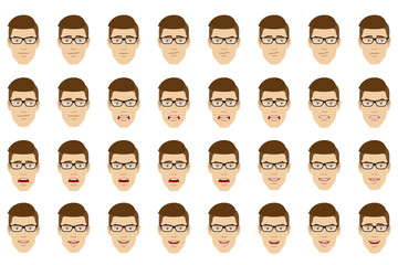 Man wearing glasses  with different emotions and facial expressions